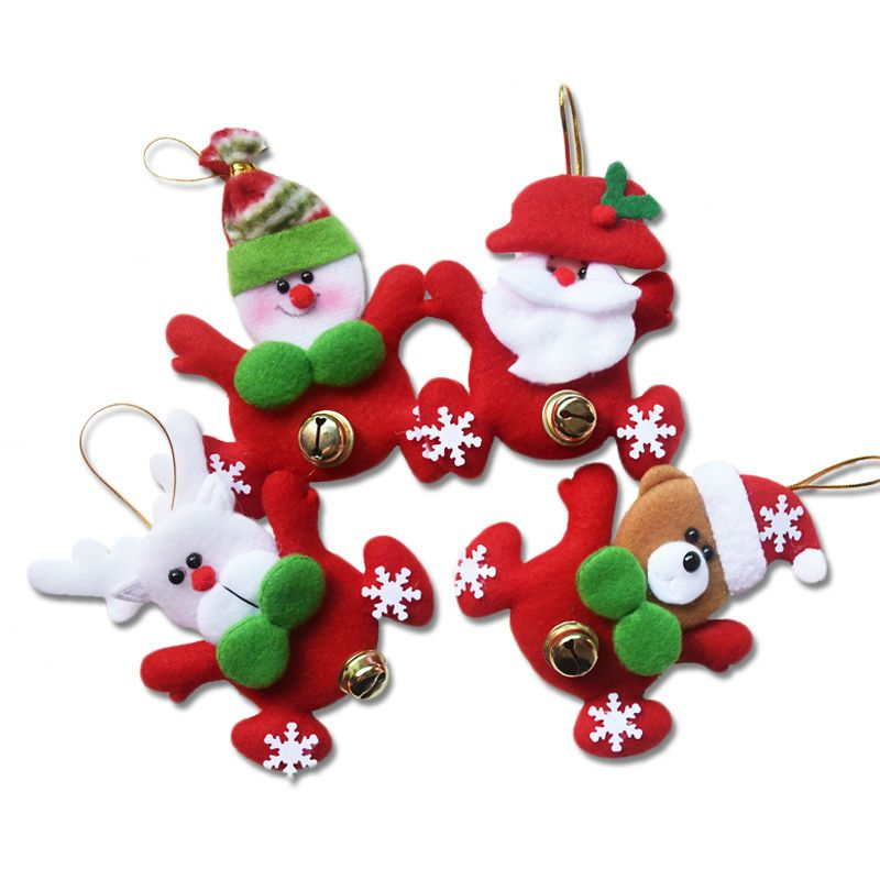 Jingle Bell Tree Decorations New Year Gifts Santa Claus Snowman With Jingle Bell Dolls Pendants