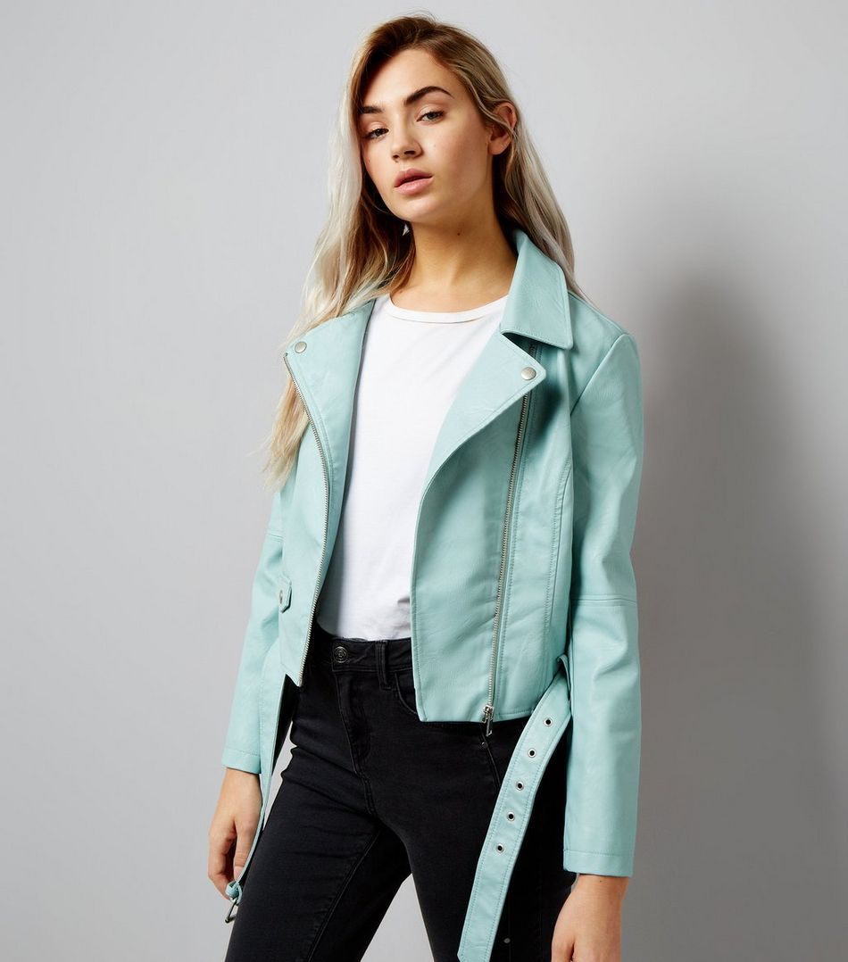Petite Mint Green Leather Look Biker Jacket New Look Leather Look Jackets Green Leather Jackets Leather Jacket Outfits [ 1078 x 950 Pixel ]