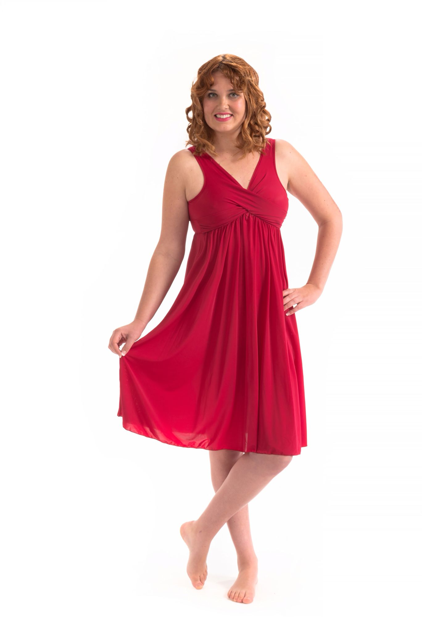 Flirty and fun in our waltz   length Aphrodite gown. You too will feel like a goddess.