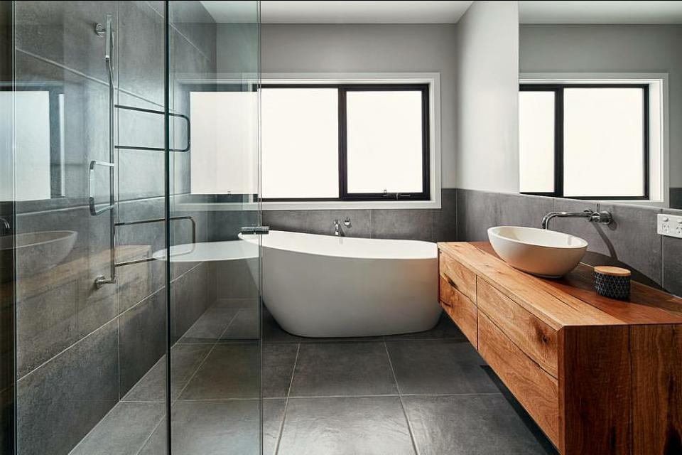 Concrete Bathroom Ideas: Timber Vanity To Offset The Grey/concrete Tile