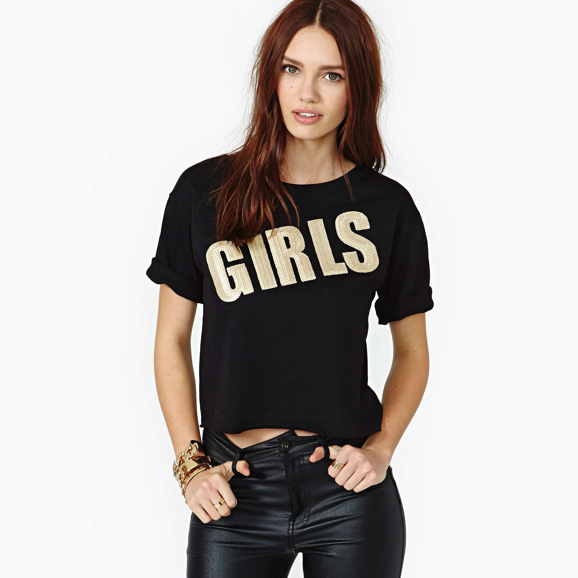 women-s-Gold-paillette-letter-girls-black-shirts-o-neck-short ...