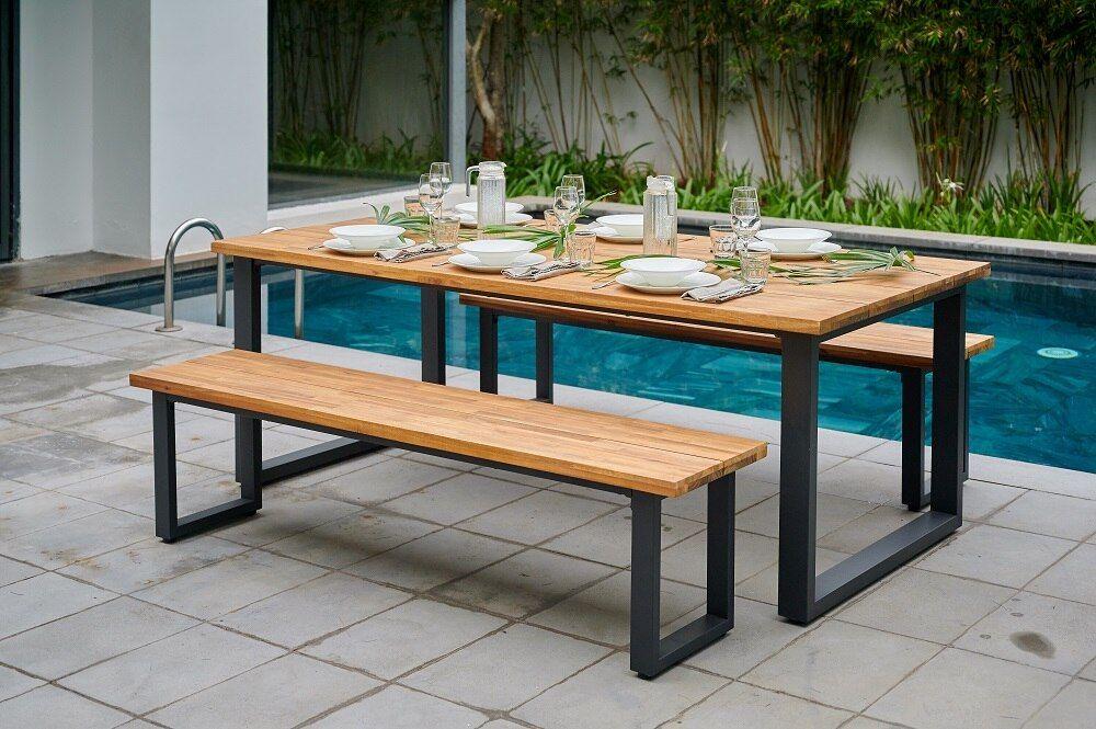 Barbate 210cm Gartentisch Gartentisch Holz Metall Moderne Gartentische