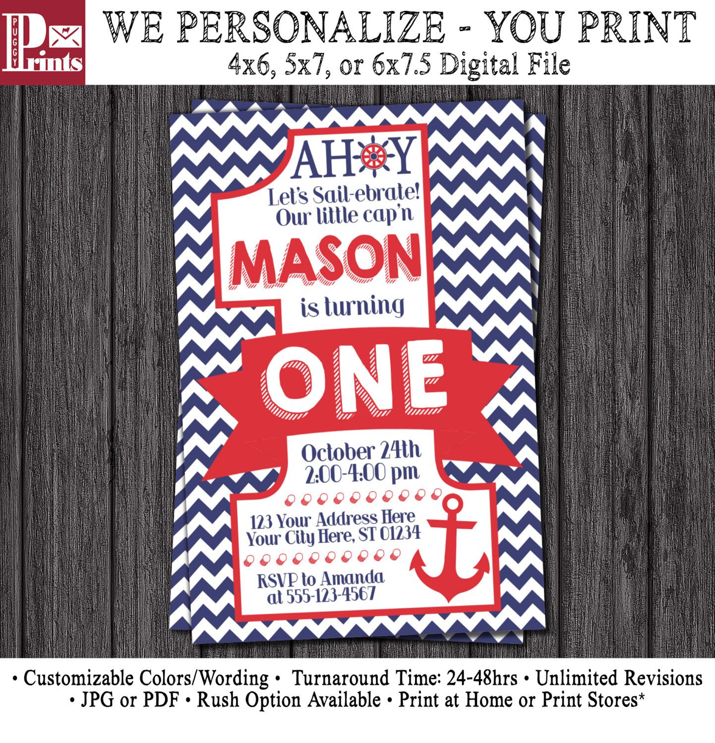 Nautical First Birthday Invitation - Nautical 1st Birthday ...
