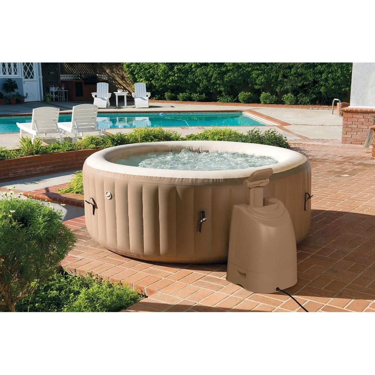 Spa Gonflable Rond 6 Places Avec Images Spa Gonflable Spa Gonflable Intex Spa Intex