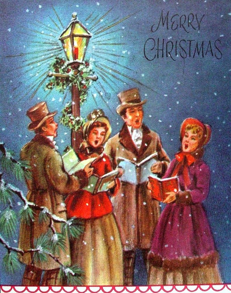 Old Christmas Post Сards — Carolers Singing (790x1000) | Old ...