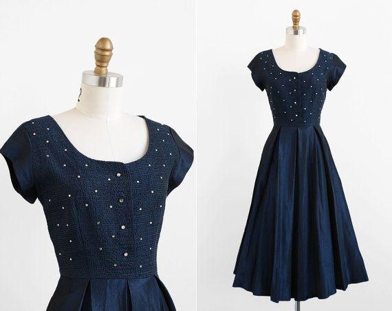 Vintage 1940s Dress 40s Dress Navy Midnight Blue Taffeta Evening Dress With Rhinestones Taffeta Evening Dresses 1940s Dresses Dresses
