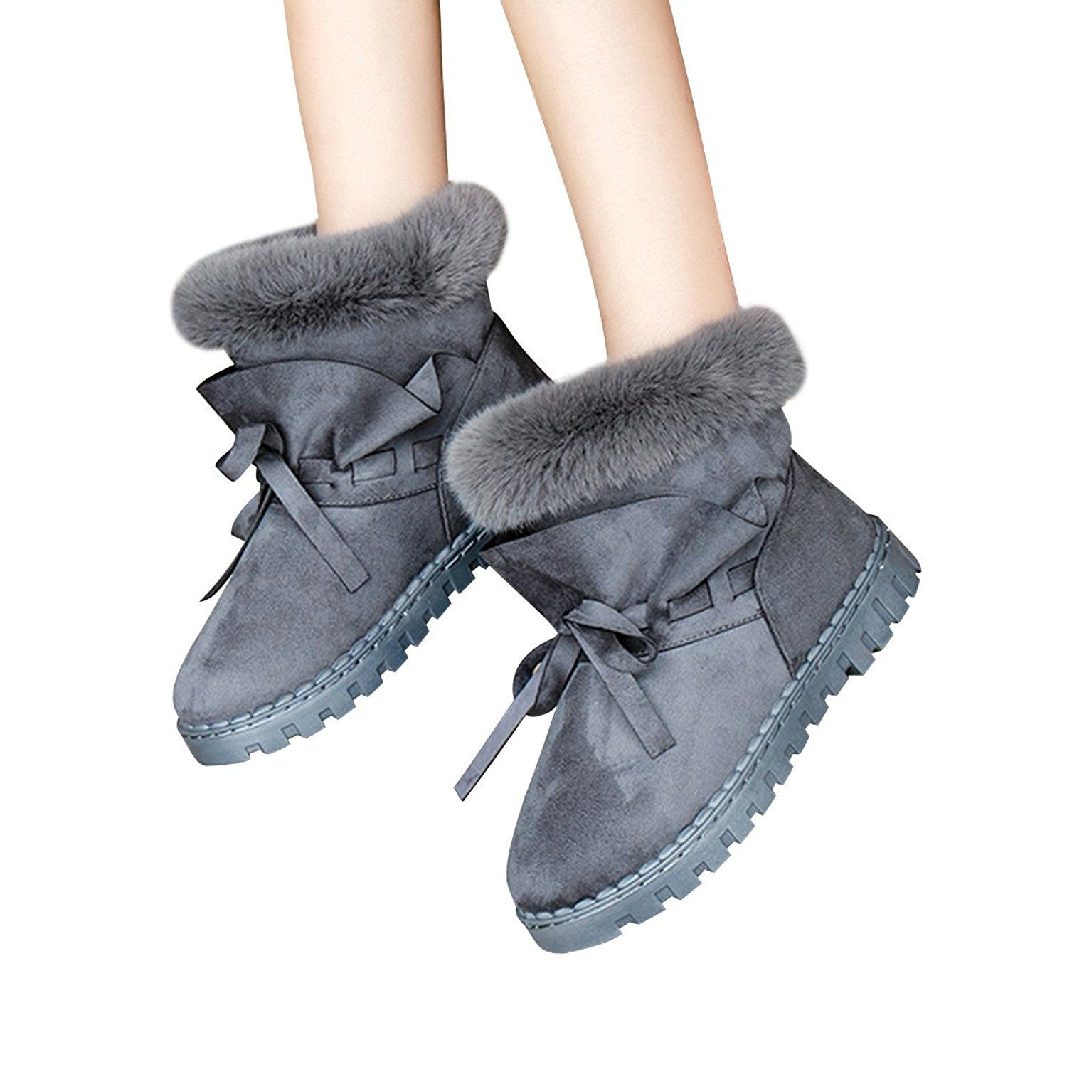 Warm Fluffy Fur Snow Boots Womens Cute Bowknot Winter Ankle Booties