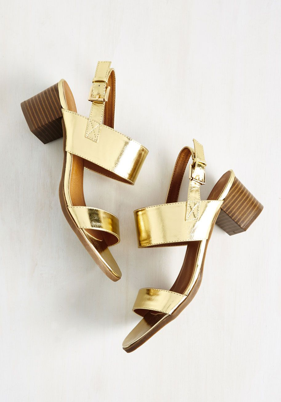 40a77559815 A Necessary Sequel Sandal in Gold. The first time you step out in these  strappy sandals certainly wont be the last!  gold  modcloth