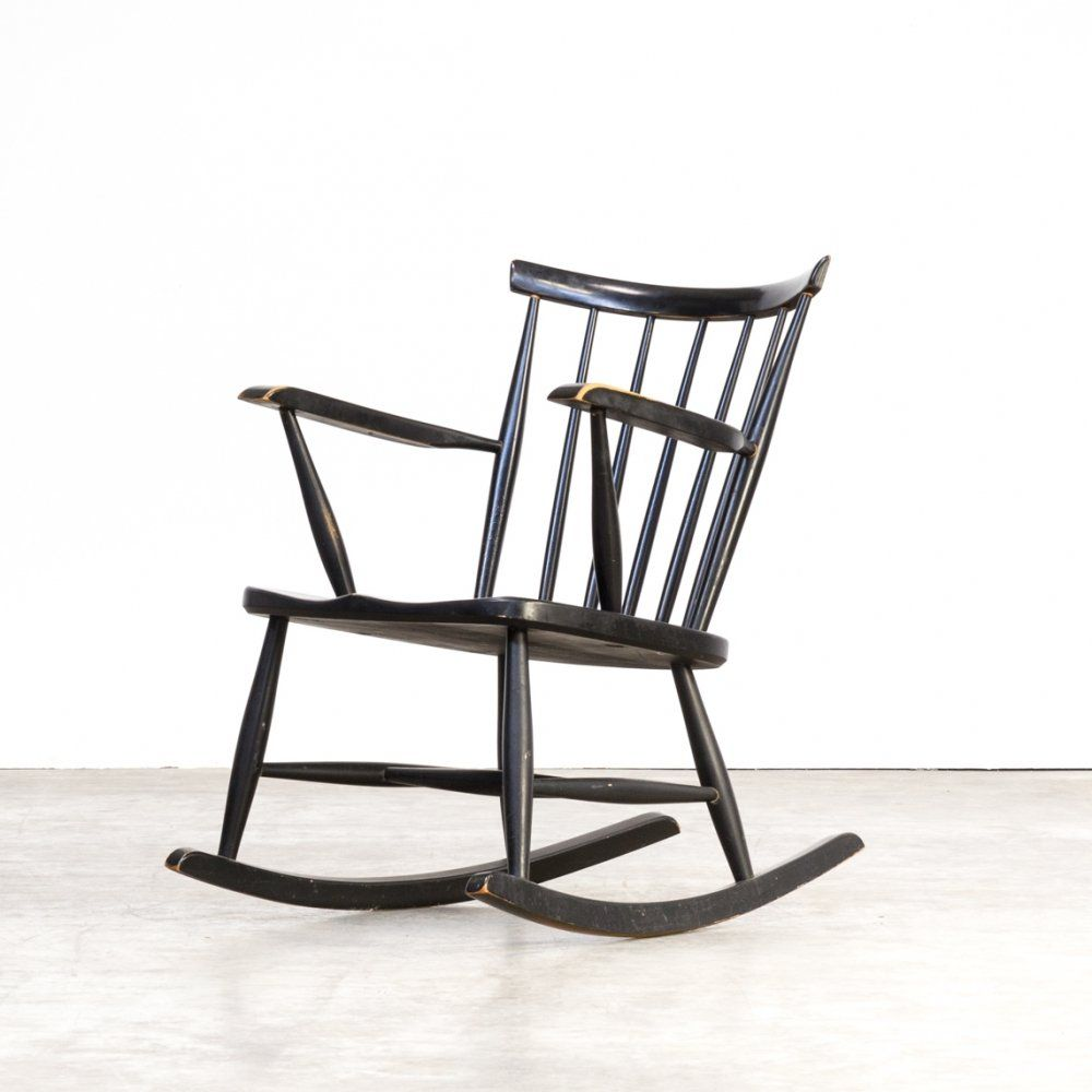 For Sale 70s Black Lacquered Wooden Rocking Chair