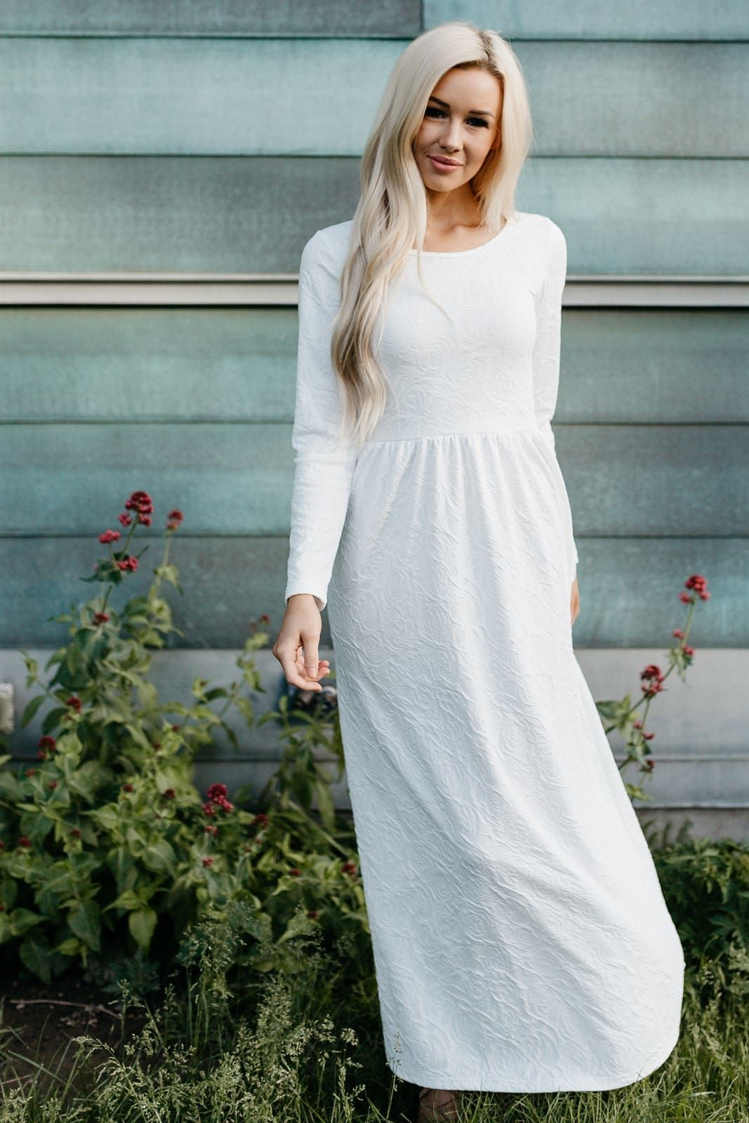 Textured Floral White Maxi Temple Dress Dresses Lds Temple Dress [ 1600 x 1067 Pixel ]