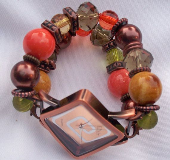 Gold Orange and Bronze Chunky Beaded Interchangeable by BeadsnTime, $30.00