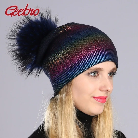 blue black grey real genuine rabbit fur knitted pom pom hat head warmer unisex