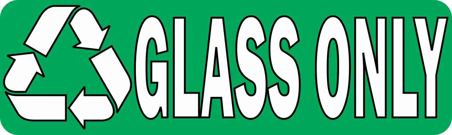 10in X 3in Permanent Recycle Glass Only Sticker Stickertalk