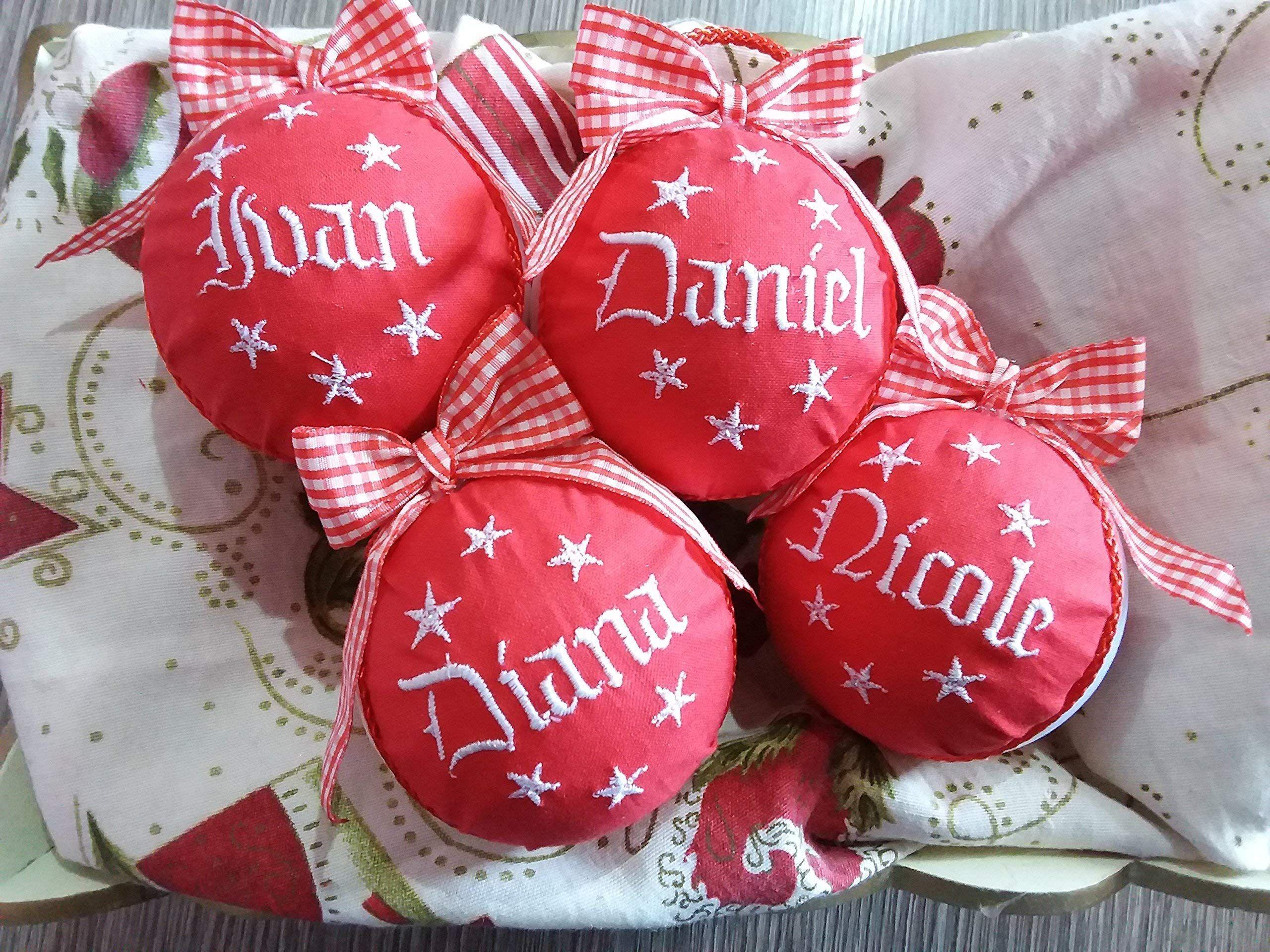 Crociedelizie offerta set da 5 palline di Natale personalizzate 8 cm nome ricamato decorazione natalizia personalizzabile scegli tu i modelli