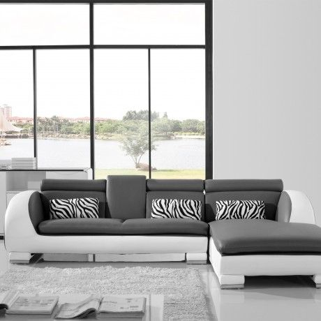 Glamorous L Shaped Sofa Come With Grey And White Modern Leather L