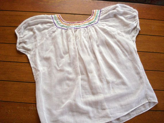 Vintage 1940s Mexican Peasant Blouse White Gauzy Mexican Blouse 2013435
