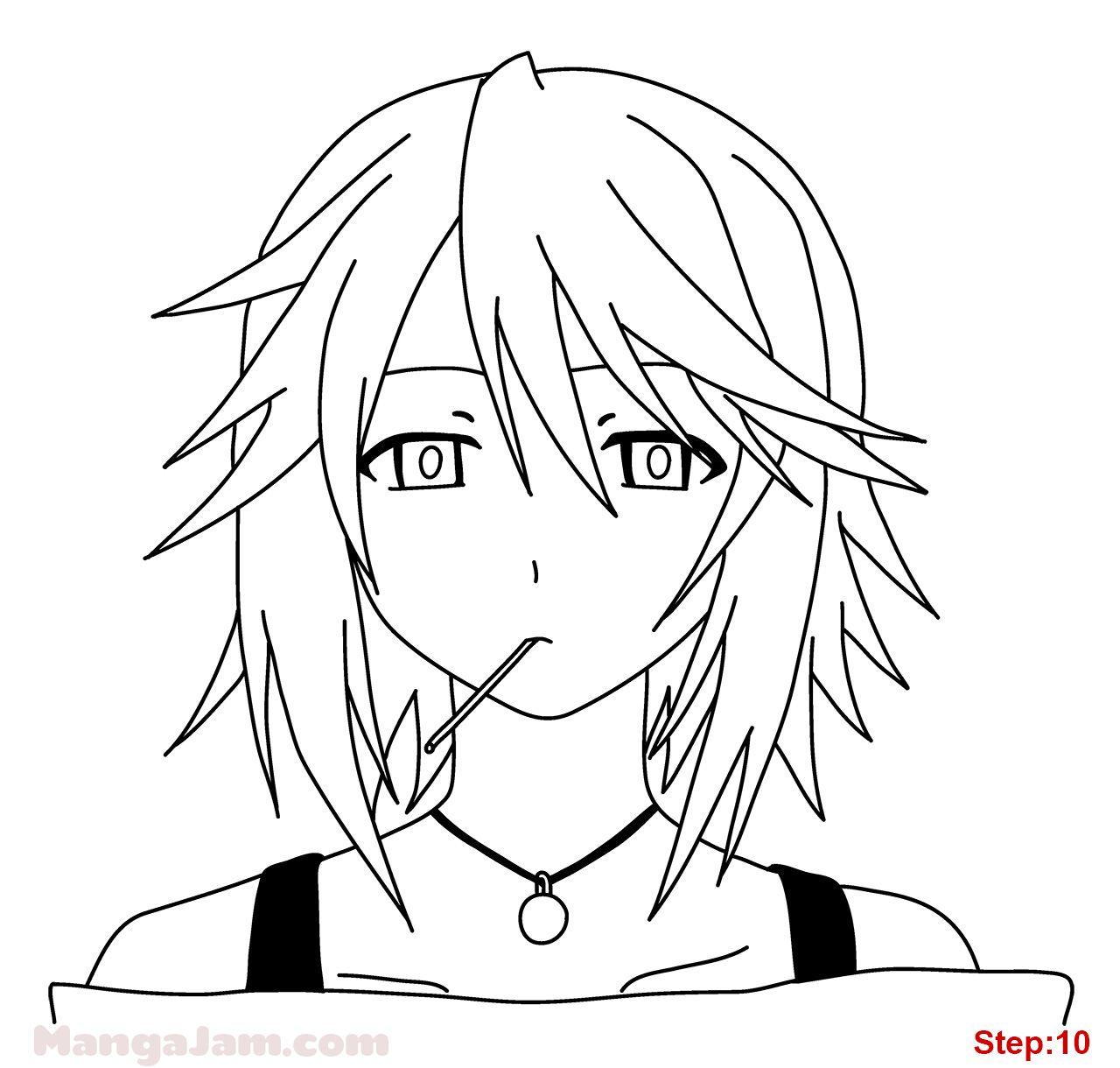 How to draw mizore shirayuki from rosario vampire step 10