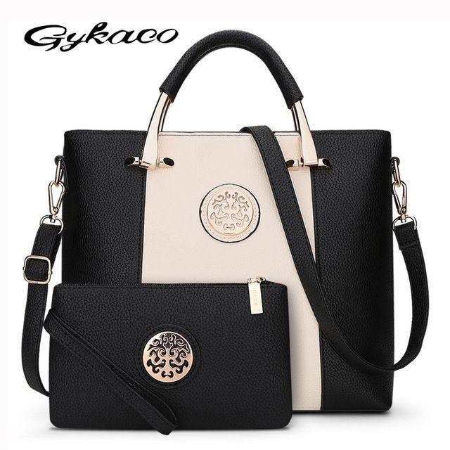 2017 Novo 2 Bags Set Estilo Europeu E Americano Mulheres Bolsa Marca Designer Mensageiro Bolsas De Ombro