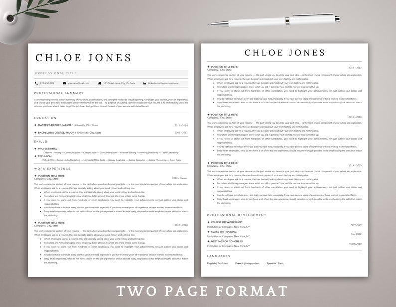 Google Docs Resume Template Minimalist Resume Template CV