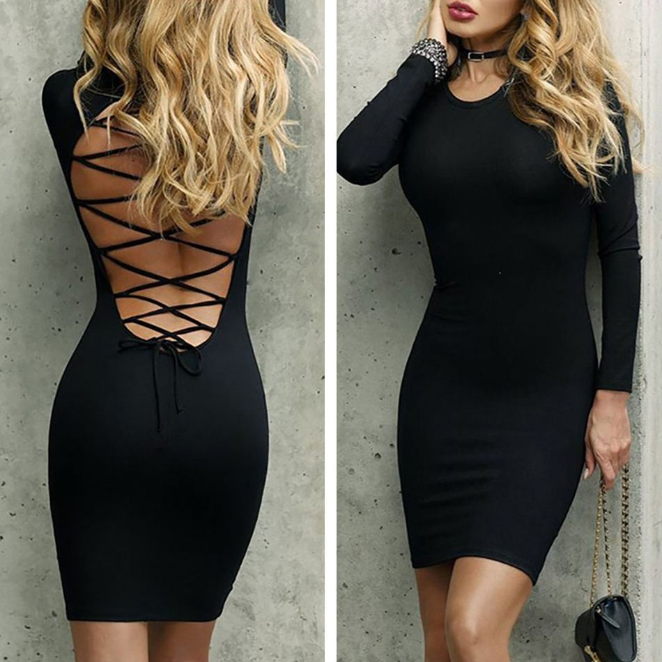 Black Red Lace Up Backless Long Sleeve Bandage Bodycon Dress