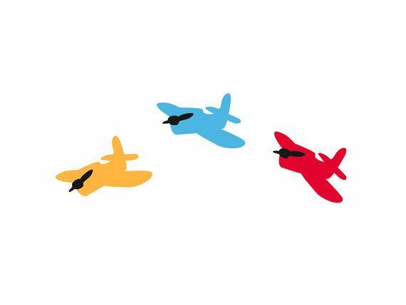 Wall decal Colorful Airplanes loony bin by LoonyBinWorkshop