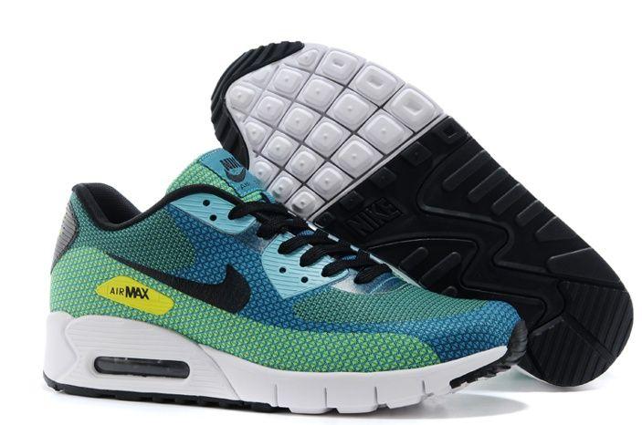Nike Air Max 90 Jacquard Mens Black Green Sneakers
