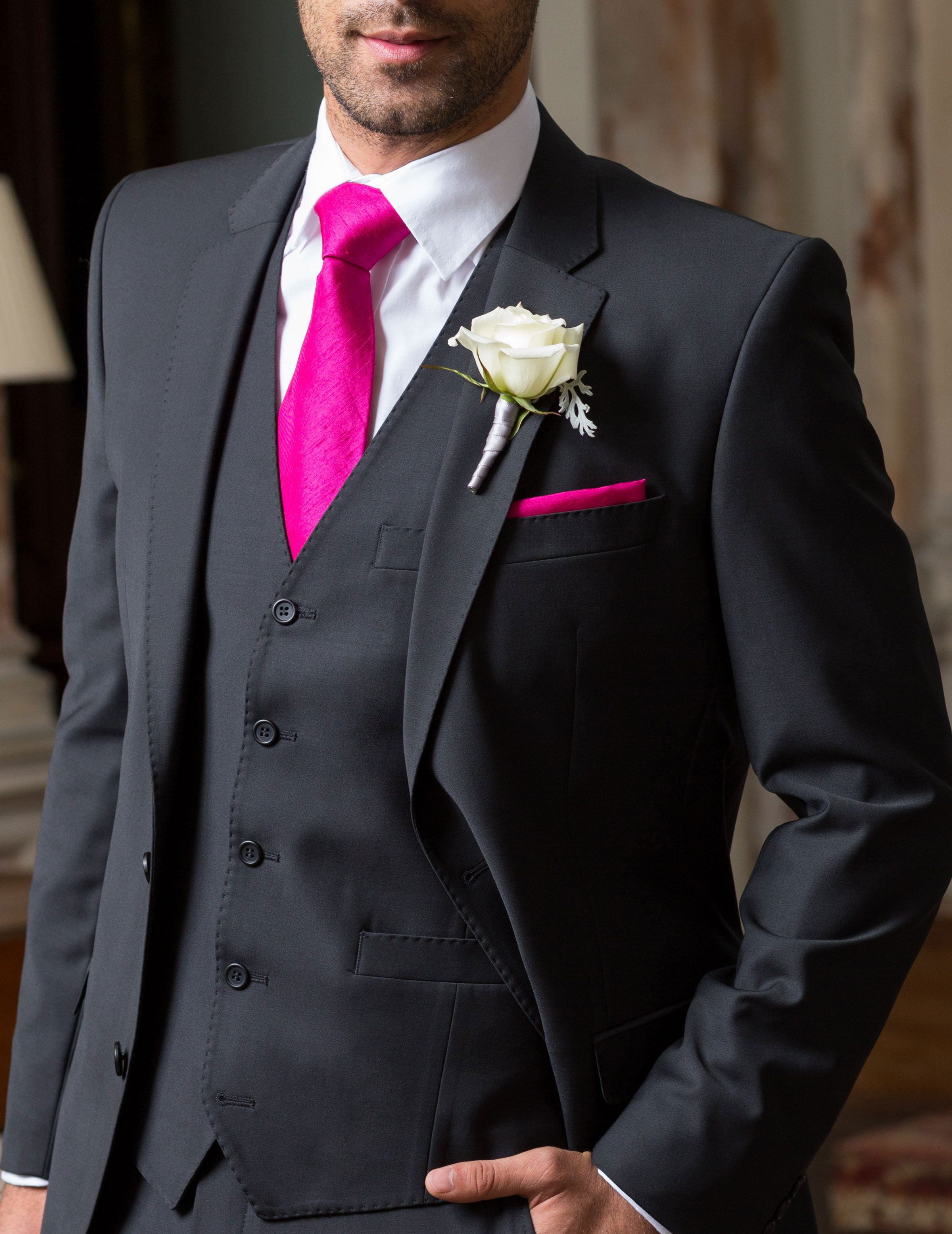 Black Three Piece Suit With Hot Pink Accessories For The