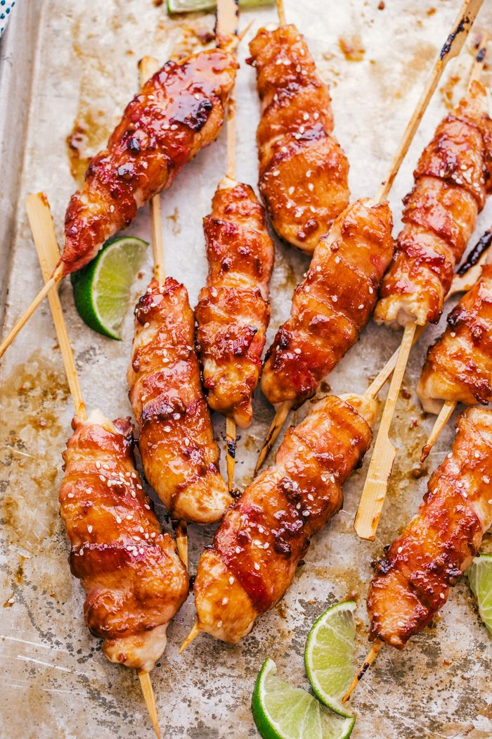 Honey Garlic Bacon Wrapped Chicken Kabobs | The Food Cafe | Just say yum