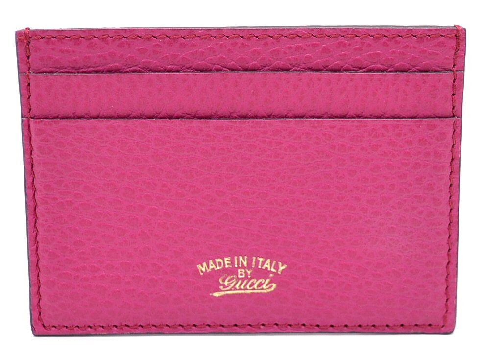 GUCCI swing card case business card holder Pass Case Leather Pink ...