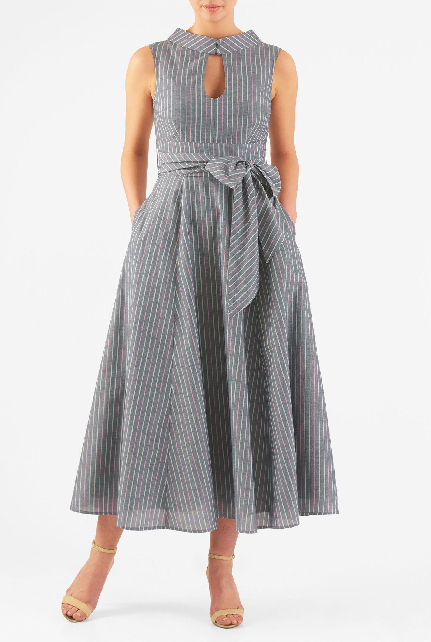 Banded high neck chambray stripe midi dress