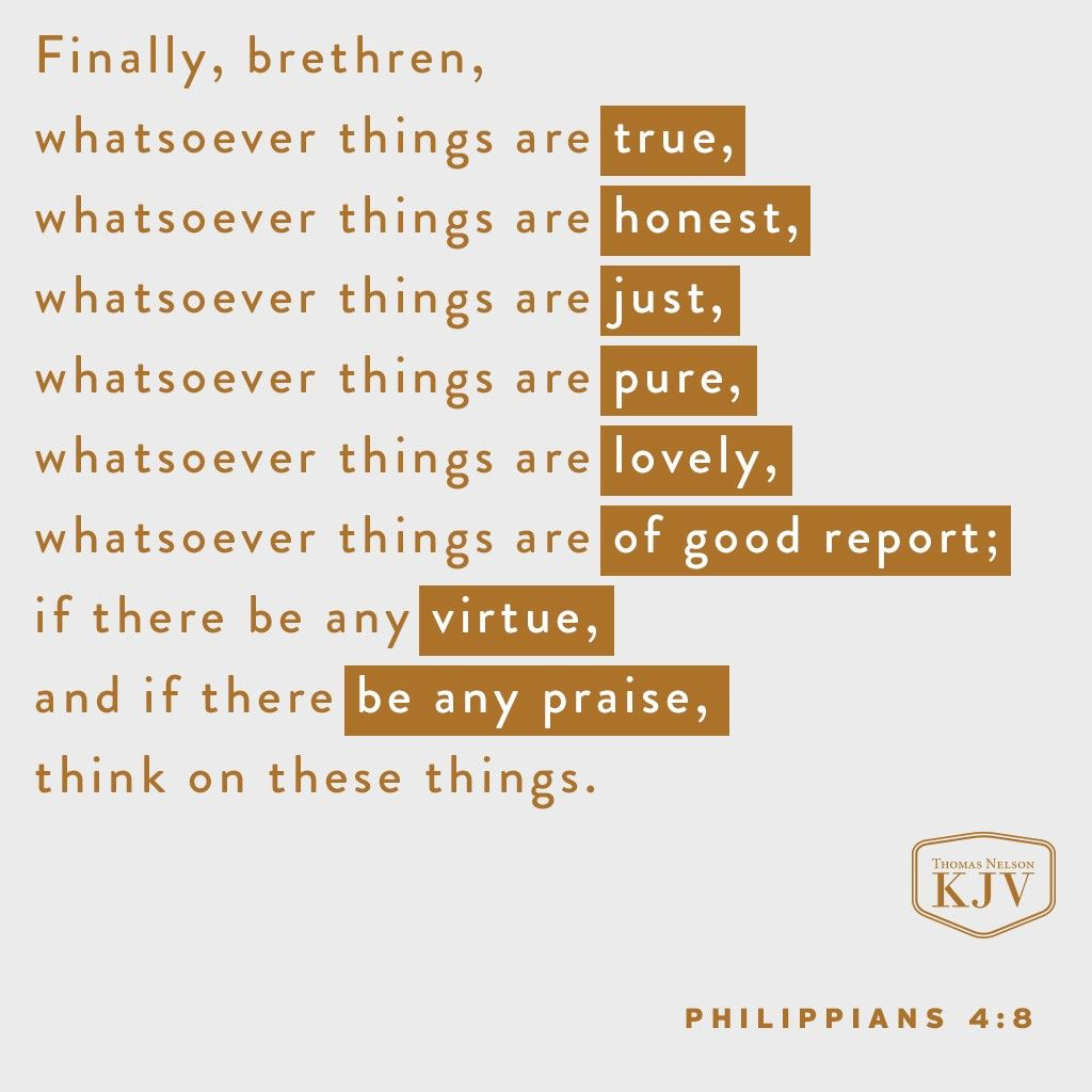 KJV Verse of the Day: Philippians 4:8 | The Most High | Pinterest