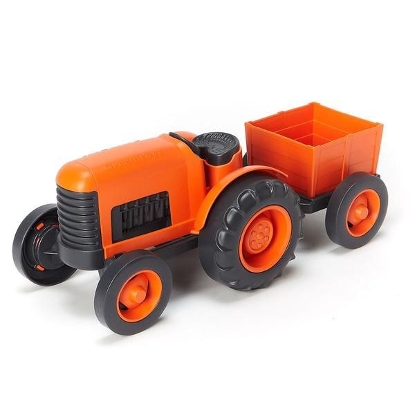 Green Toys $15.99 Tractor The Green Toys® Tractor puts a whole new spin on farm-to-table. With chunky, go-anywhere tires and a detachable rear trailer, little farmers can harvest and haul the freshest organic produce their imaginations can grow. Super safe and versatile with no metal axles (no rust) or external coatings (no chipping or peeling), it's ready for any playtime payload, whether indoors or outside. 1+ yrs. Made in USA.
