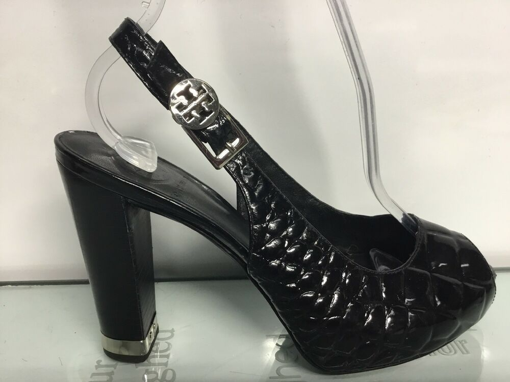 6fc801bf0d11 Tory Burch Allison Croc Patent Sling Back High Heels Size 7.5M  fashion   clothing