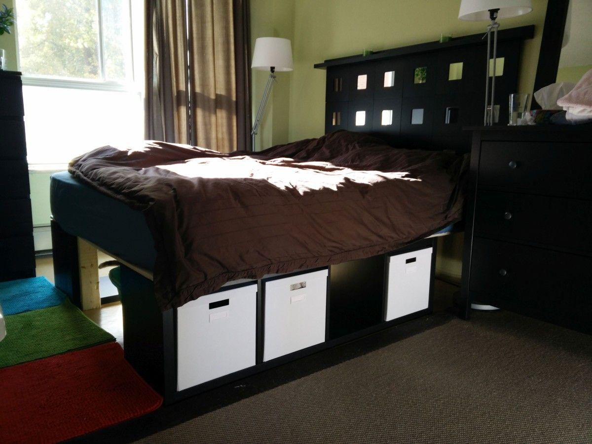 Kallax Storage Bed and Malma Headboard | Ikea y Bricolaje