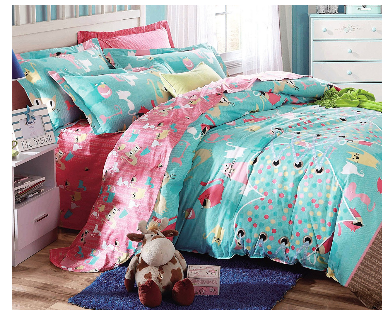 Cliab Cat Bedding for Girls Full Coral Green Cats Bed