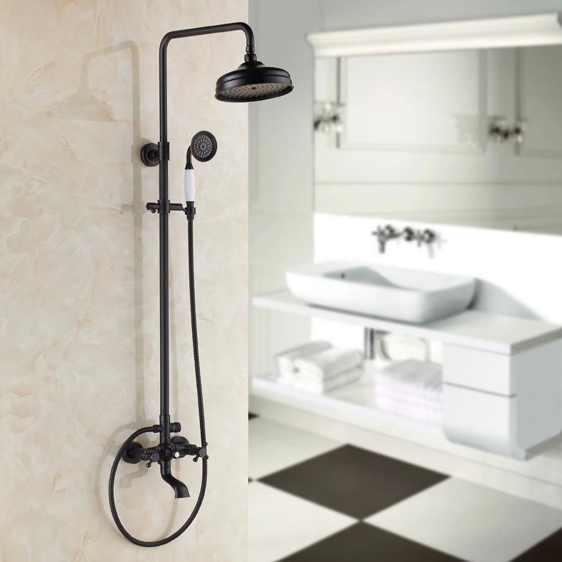 black Brass Rotatable Lifting Shower Set Faucet Dual Handles ...