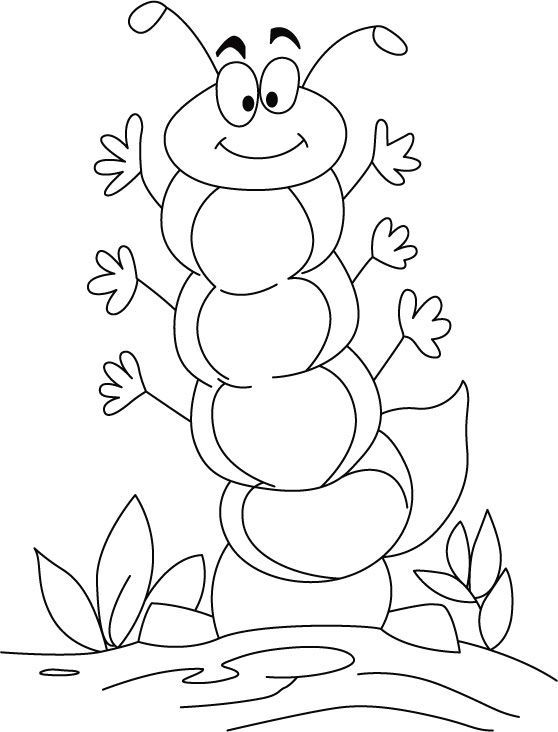 Caterpillar in high spirit coloring pages   Download Free ...