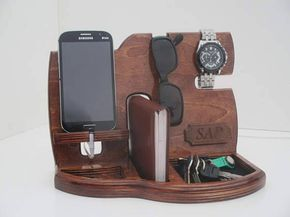 desk organizer docking station charging station phone stand gifts for dad gift fathers day gift. Black Bedroom Furniture Sets. Home Design Ideas