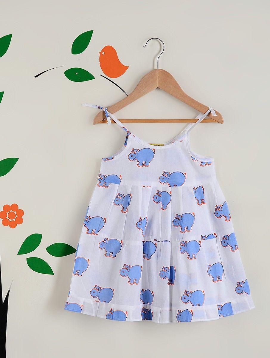 024cdb1857 White-Blue Hippo Printed Cotton Cambric Spaghetti Dress | K I D S ...
