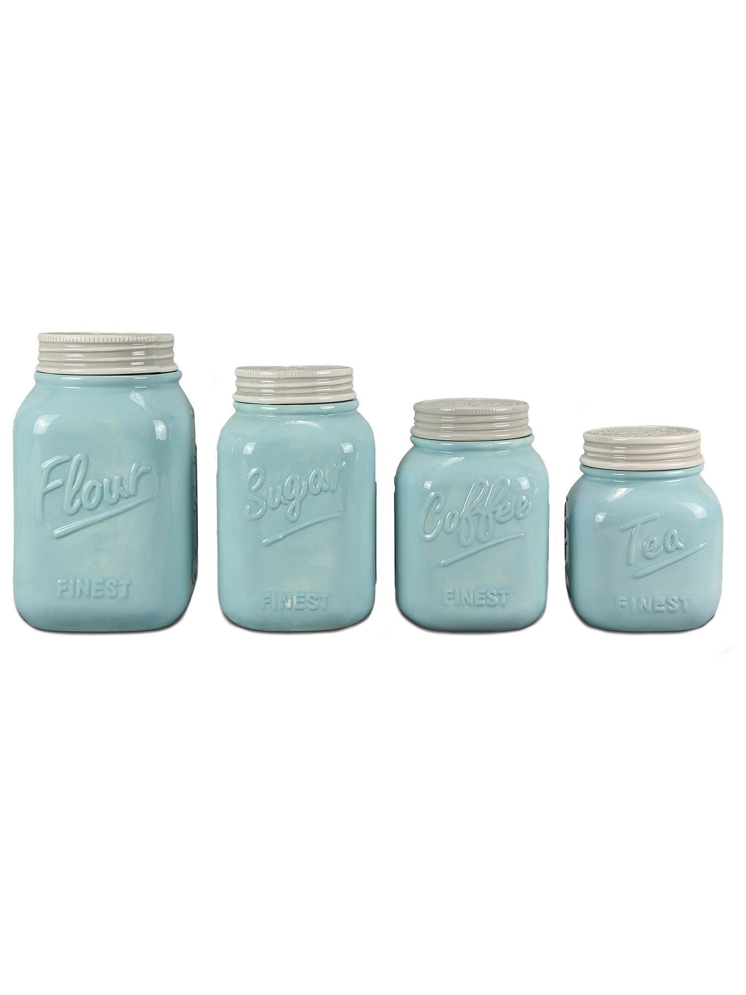stunning Blue Kitchen Canisters Part - 7: Blue Ceramic Mason Jar Canister Set | ZallZo.com