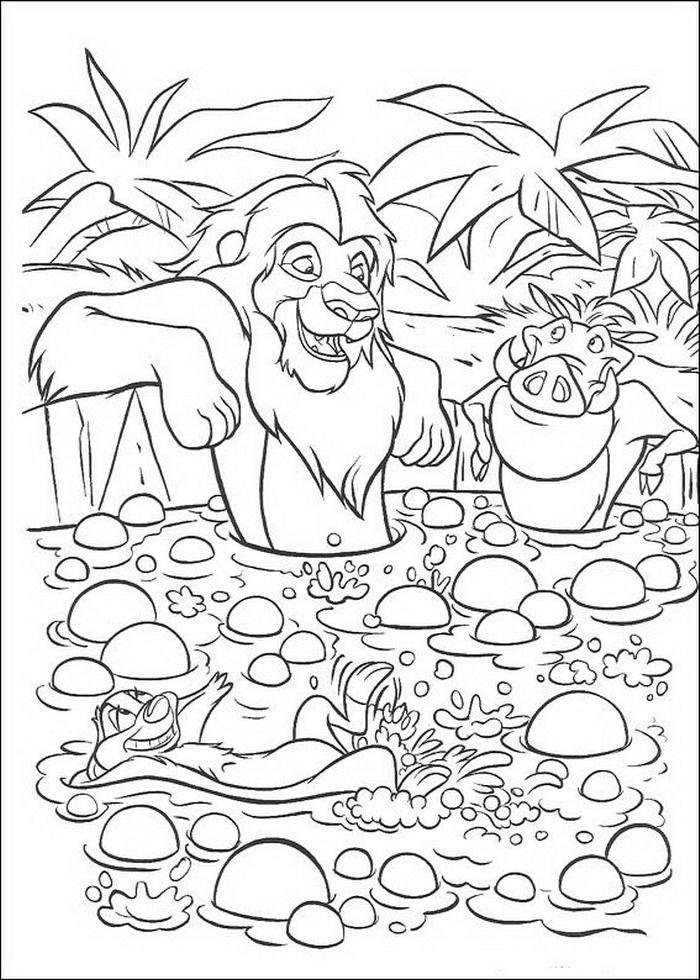 Kleurplaten Van De Leeuwenkoning.Kleurplaat Lion King Of De Leeuwenkoning Simba Timon En Pumba In
