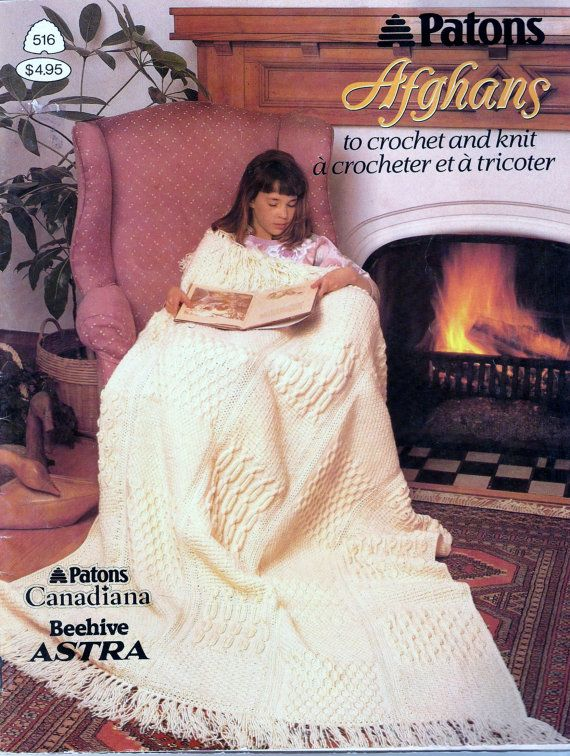 Vintage Book Patons Afghans To Crochet And Knit, Vintage Patterns ...