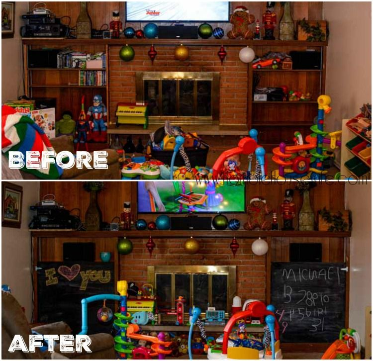 Before and after adding DIY chalkboard doors to the bookshelves in our family room