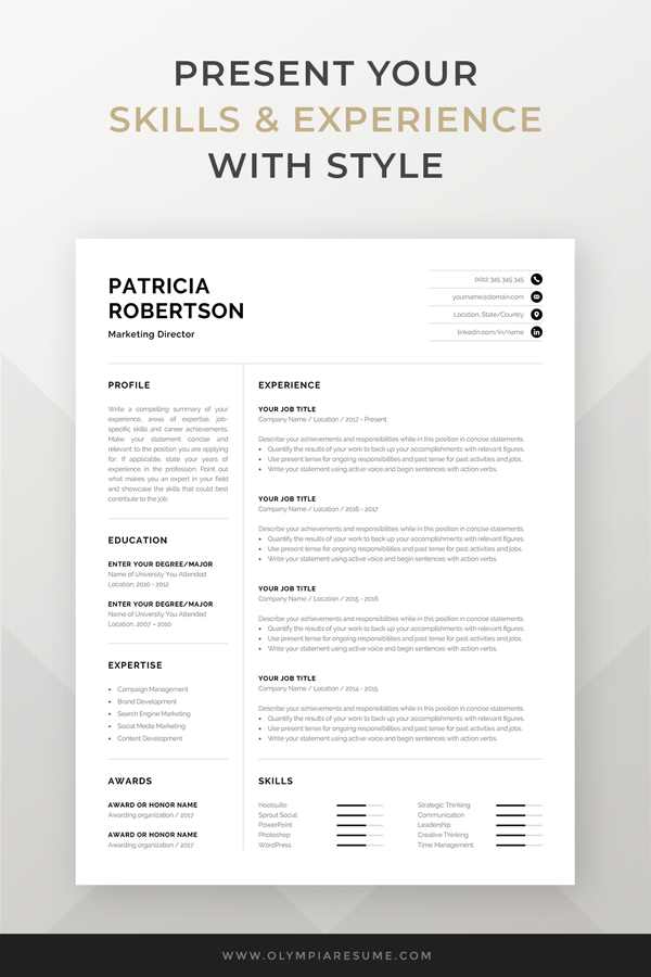 Professional 1 Page Resume Template Modern One Page Cv Etsy In 2020 Resume Template Word Resume Template Professional One Page Resume Template