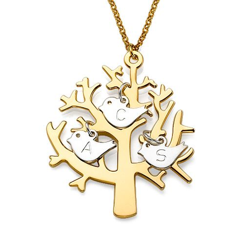 Personalized Engraved Initials Birds Tree of life 18K Gold Over Sterling Silver Necklace