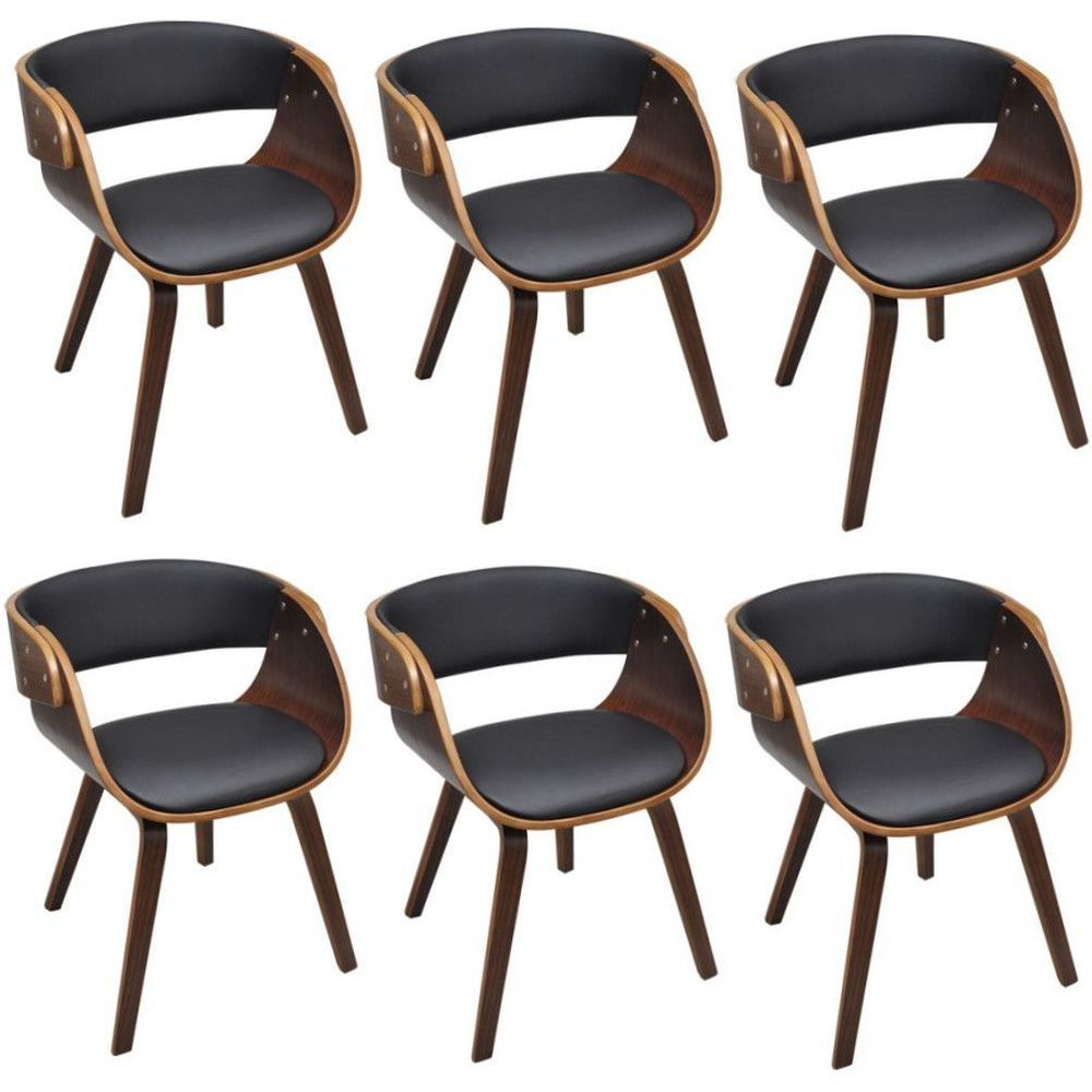 Set Of 6 Dining Chairs Faux Leather Contemporary Design Living Room Furniture Retro Dining Room Chairs Dining Chairs Retro Dining Rooms