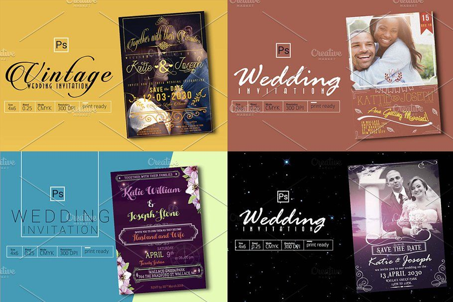 Photo of 4 Wedding Invitation Bundle , #Aff, #Bleed#Inches#High#Features #affiliate