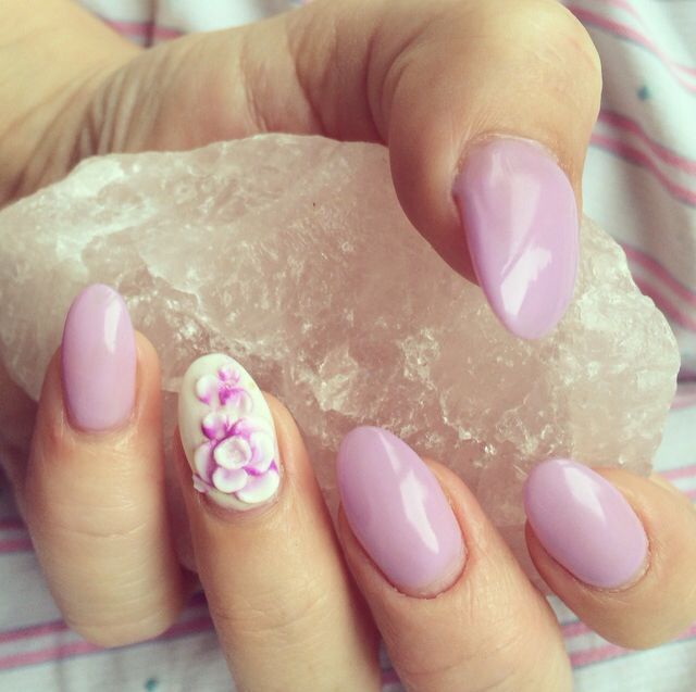 Lavender Gel Nails With Accent Nail Almond Nails With 3d Embossed
