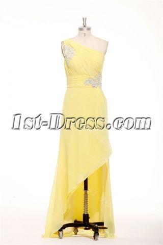 Charming Asymmetrical Neckline Yellow Semi Formal Dresses Plus Size ...