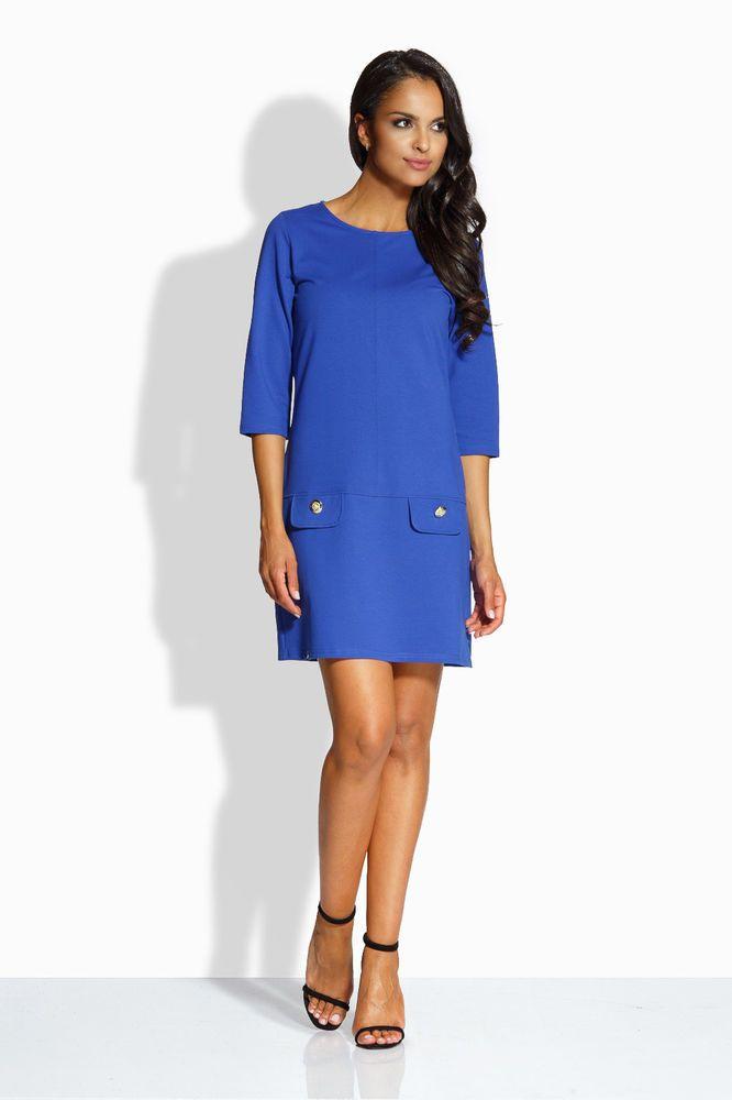 f7541cfece7 Robe droite courte bleu femme coton manches 3 4 mode tendance ENVY ME EM133
